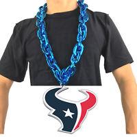 New NFL Houston Texans Blue Fan Chain Necklace Foam Magnet - 2 in 1