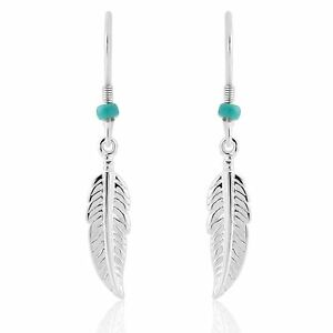 Trink Brand Sterling Silver Tribal Angel Feather Drop Earrings Turquoise Colour