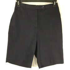 LANDS' END Bermuda Shorts Women's Size 10 Fit 3 High Rise Elastic Navy Blue