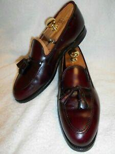 Excellent Alden Men's Mahogany Leather Side Lace Tassel Apron Toe Loafers 9.5D/B