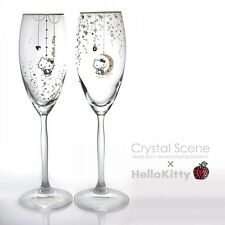 Hello Kitty Pair Champagne Glass Swarovski Sanrio Official Hand Made in Japan
