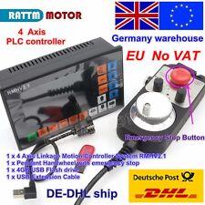 【UK+EU】 4 Axis 500KHZ Offline PLC CNC Motion Control System+Handwheel MPG E-Stop