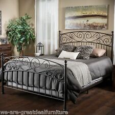 Bedroom Furniture King Size Iron Bed in Dark Bronze