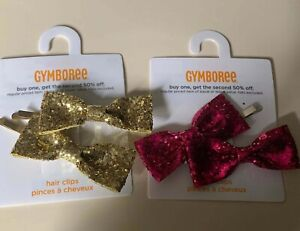 NWT Gymboree Cherry All The Way Barrettes Hair Accessory Gold and Pink Holiday
