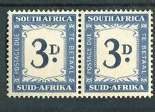 South Africa KGVI 1950-58 Postage Due 3d 'split D' in pair w/normal SG41/41d MLH