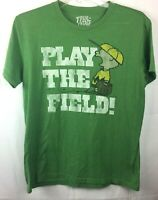 True Vintage Men's Size Medium Peanuts Comic Linus Play the Field Green T-Shirt