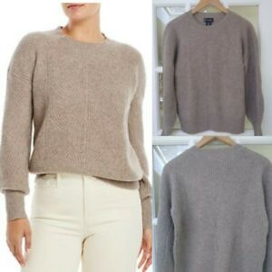 C By Bloomingdale's Pointelle Cashmere Sweater Sesame NWT $198 Size XS