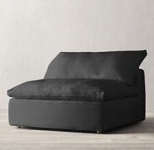 Restoration Hardware Cloud Luxe Armless Chair SLIPCOVER BWBK Black Linen