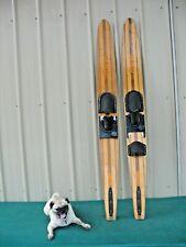"Vintage Western The Convcave Wood Wooden Water Skis Slalom 66"""