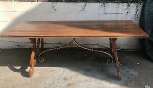 Large Spanish Style Dining Table In Walnut.