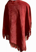 Western Leather Triangular Neck Scarf W/ Fringe Cowboy Unisex Oversized Burgundy