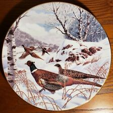 Ring-Necked Pheasants in Feb, Ken Michaelson, Sporting Yr Coll Plate, Frkln Mint