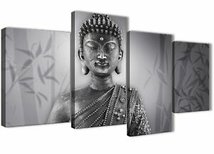Large Black White Buddha Bedroom Canvas Pictures Decor - 4373 - 130cm