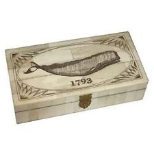 Whale 1793 Scrimshaw Bone Trinket Jewelry Box Antique Reproduction
