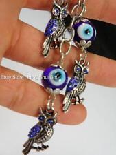BLUE OWL KeyChain Ring Evil Eye Feng Shui Glass Bead Turkish Good Lucky Charm #A