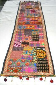 """Machine sewing patchwork and applique handmade size 17""""x 64""""table runner"""
