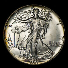 1987 1oz AMERICAN EAGLE $1 SILVER DOLLAR, ORIGINAL RIM TONING *UNC* LOT#W231