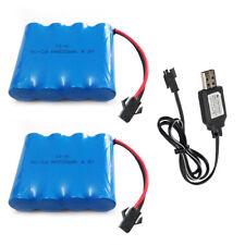 2Pcs 4.8V 500mAh Ni-Cd AA Battery Pack SM 2P Plug & USB Charging Cable for Toys