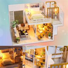 Modern Doll House Miniature DIY Kit Dollhouse W/ Furniture LED Light Music Gift