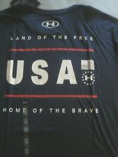 UNDER ARMOUR Men's T-Shirt navy - LAND of The FREE - new Large USA