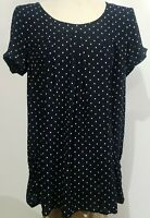 Anthropologie Holding Horses Women's Tunic Blouse XS Navy Blue White Polka Dots