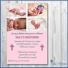 10 PERSONALISED COLLAGE  CHRISTENING INVITATIONS CARD GIRL CHRISTENING CARDS