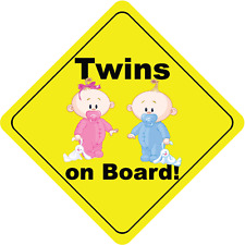 "Twins On Board Boy and Girl Bunny Cute Baby Car Bumper Sticker Decal 5"" x 5"""