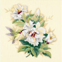 "Dimensions Crewel Kit 12""X12""-Hibiscus Floral-Sitched In Wool & Floss"