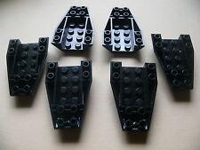 Lego 6 cockpits noirs set 9442 8496 8635 7238 / 6 black wedge inverted