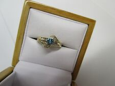 GORGEOUS ESTATE 14 KT GOLD .72 CTW. VIVID  BLUE DIAMOND RING !!!!!!!!!!!!