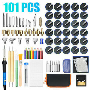 101pcs 60W Wood Burning Pen Tool Soldering Stencil Iron Craft Set Pyrography Kit