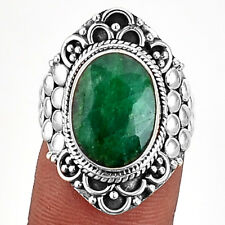 Indian Emerald 925 Sterling Silver Ring Jewelry s.6 SDR6991