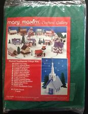 9 Needlepoint Pine Trees Mary Maxim Musical Plastic Canvas Village 3 Sizes Xmas