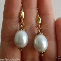 White czech glass Oval Pearls Gold plated Leverback Cute Earrings