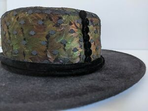 KOKIN NY CHARLES JOURDAN PARALLELE WIDE BRIM DESIGNER HAT FEATHERS LACE BUTTONS