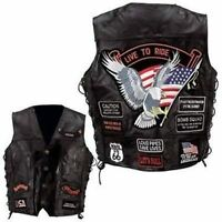 Mens Black Leather Biker Motorcycle Harley Rider Chopper Vest 14 Patches Eagle
