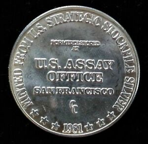 1981 U.S. ASSAY OFFICE SAN FRANCISCO CC 1oz 999 Fine Silver Round nice