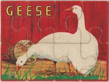 Vintage Milton Bradley Children's 8-Piece Farm Geese Bird Puzzle
