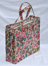 Handmade 100% Cotton Oilcloth Medium shopping/holiday tote Bag - Flower Print
