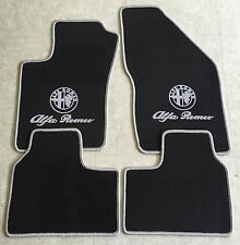 Autoteppiche Fußmatten für Alfa Romeo 90 schwarz silber Logo 4teilig Neuware