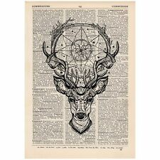 Deer Dreamcatcher Dictionary Print Vintage, Stag, Hipster, Art,Unique, Gift,