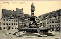 FREIBERG Sachsen ~1900/10 Partie Obermarkt mit Brunnen Denkmal Ratskeller uvm.