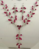SILVER TONE HOT PINK CRYSTAL DROP NECKLACE & EARRINGS SET
