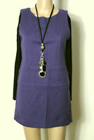 stile benetton Kleid Gr. S lila kurz Träger Mini Stiefel Kleid Schurwolle