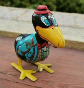 VTG MEXICAN MARX RARE TIN LITHO WIND UP TOY CARY THE CROW PLASTIMARX MEXICO