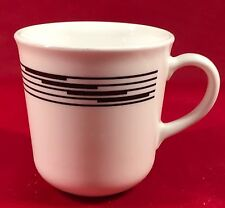"Corelle Corning Optic White w/ Black Bands Coffee Cup/ Mug 3 1/4"" Tall 3 1/4"" D"