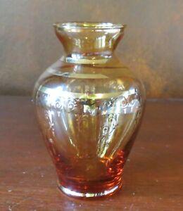 "Czech Bohemian Glass Amber 4 ¼"" Vase Heavy Gold Accents"