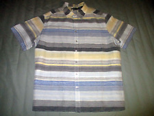 Perry Ellis Men's 2X Big Fine Linen Cotton Short Sleeve Shirt Multi-Color Stripe