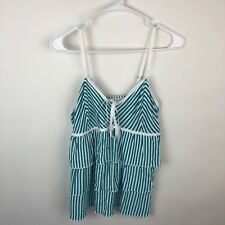 To The Max Max Studio Womens Size Large Tank Top Cami Tiered White Blue Striped
