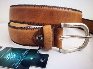 RENATO BALESTRA Cintura Cinta Uomo 100% Vera Pelle Marrone 125 cm Made in Italy